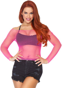 Neon Pink Jemima Spandex Long Sleeved Industrial Net Shirt