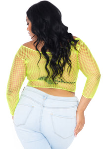 Lime Naomi Spandex Long Sleeved Industrial Net Shirt