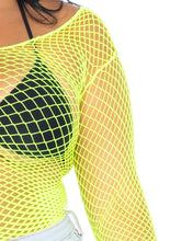 Load image into Gallery viewer, Lime Naomi Spandex Long Sleeved Industrial Net Shirt