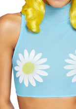 Load image into Gallery viewer, Blue Freya Daisy High Neck Mesh Crop Top with Zipper Back