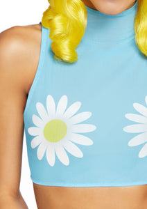 Blue Freya Daisy High Neck Mesh Crop Top with Zipper Back
