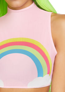 Pink Ellie Rainbow High Neck Mesh Crop Top with Zipper Back