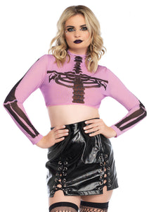 Purple Emma Skeleton High Neck Long Sleeved Mesh Crop Top