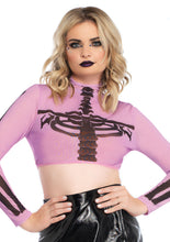 Load image into Gallery viewer, Purple Emma Skeleton High Neck Long Sleeved Mesh Crop Top