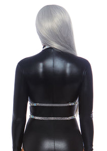 Silver Esther Iridescent Studded Vinyl Body Harness