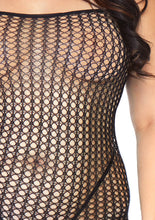 Load image into Gallery viewer, Black Joel Seamless Crochet Net Spaghetti Strap Bodystocking Plus Size