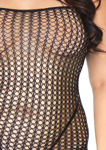 Black Joel Seamless Crochet Net Spaghetti Strap Bodystocking Plus Size