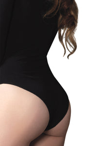 Black Martha Opaque Long Sleeves Bodysuit
