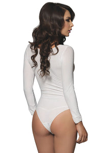 White Martha Opaque Long Sleeves Bodysuit