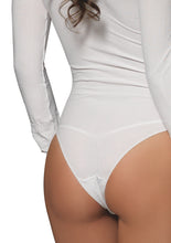 Load image into Gallery viewer, White Martha Opaque Long Sleeves Bodysuit