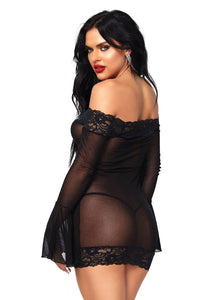Black Natasha 2 Piece Off The Shoulder Lace Mini Dress