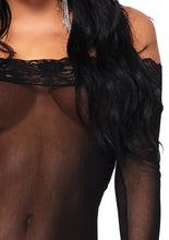 Load image into Gallery viewer, Black Natasha 2 Piece Off The Shoulder Lace Mini Dress