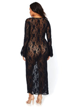 Load image into Gallery viewer, Black Joanna Stretch Lace Deep-V Bell Sleeve Long Dress