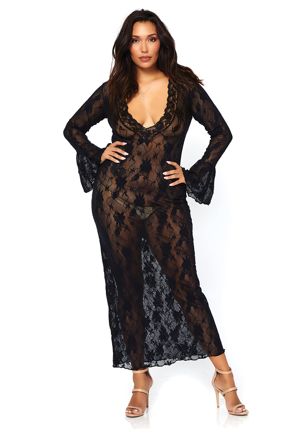 Black Joanna Stretch Lace Deep-V Bell Sleeve Long Dress
