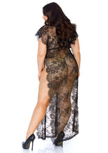 Load image into Gallery viewer, Black Mai 2 Piece Eyelash Lace Long Kaftan Robe and Matching G-String