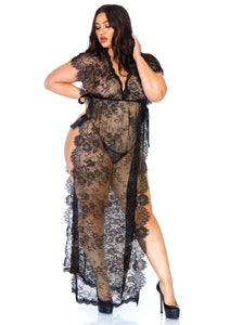 Black Mai 2 Piece Eyelash Lace Long Kaftan Robe and Matching G-String