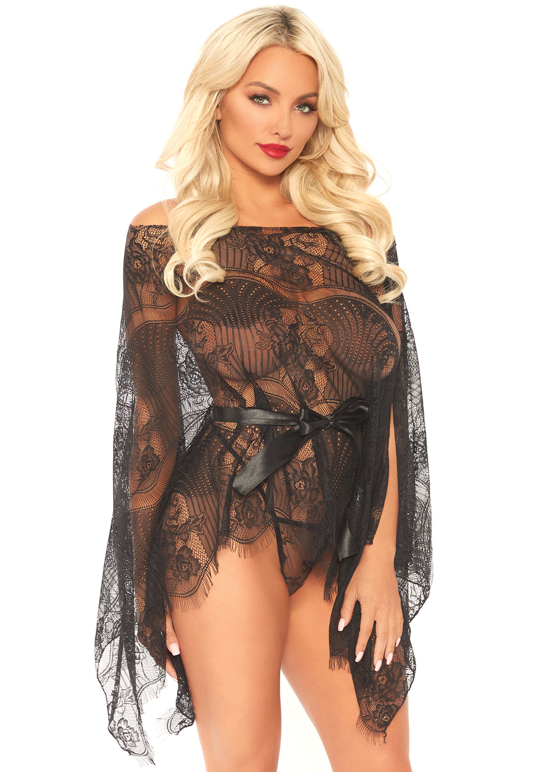 Black Leah 3 Piece Eyelash Lace Mini Kaftan Robe and Matching G-String