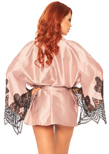 Rose Iona 2 Piece Short Satin Robe with Embroidered Eyelash Lace Flared Sleeves