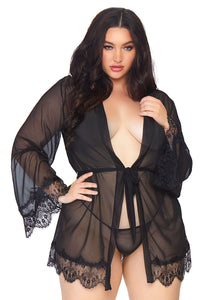 Black Janae 3 Piece Sheer Short Robe with Eyelash Lace Trim and Matching G-String