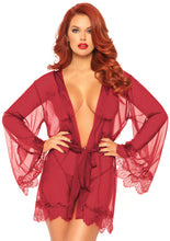 Load image into Gallery viewer, Burgundy Grace 3 Piece Sheer Short Robe with Eyelash Lace Trim and Matching G-String
