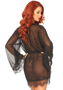 Black Grace 3 Piece Sheer Short Robe with Eyelash Lace Trim and Matching G-String