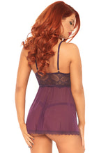 Load image into Gallery viewer, Plum Sophie 2 Piece Sheer Mesh and Lace Babydoll