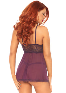 Plum Sophie 2 Piece Sheer Mesh and Lace Babydoll