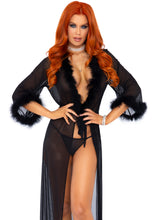 Load image into Gallery viewer, Black Adria 3 Piece Marabou Trimmed Long Sheer Robe and Tie and Matching G-String Panty
