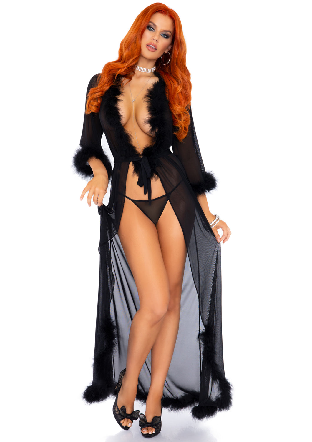 Black Adria 3 Piece Marabou Trimmed Long Sheer Robe and Tie and Matching G-String Panty