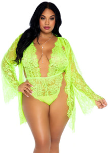 Lime Melita 3 Piece Floral Lace Teddy with Adjustable Straps wnd Cheeky Thong Back