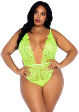Load image into Gallery viewer, Lime Melita 3 Piece Floral Lace Teddy with Adjustable Straps wnd Cheeky Thong Back