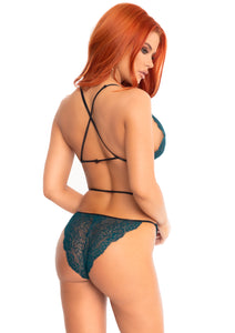 Teal Danielle Scalloped Lace Wrap Around Teddy