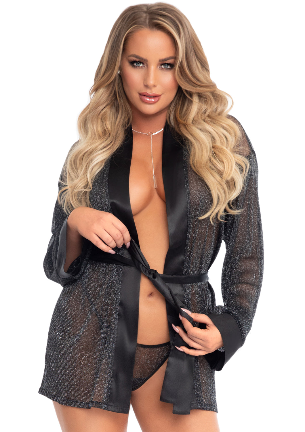Black Candace 3 Piece Satin Trimmed Shimmer Sheer Lurex Robe and Matching G-String Panties