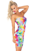 Load image into Gallery viewer, Multicolor Brittney Rainbow Camo Mesh Strapless Romper