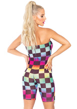 Load image into Gallery viewer, Multicolor Kristen Rainbow Checkerboard Mesh Strapless Romper