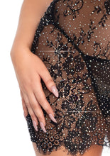 Load image into Gallery viewer, Black Molly Piece Rhinestone Eyelash Lace Keyhole Halter Dress