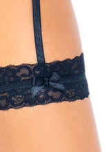 Load image into Gallery viewer, Black Emily 3 Piece Lace Trimmed Sheer Wrap-Around Bikini Top and G-String