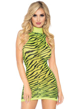 Load image into Gallery viewer, Neon Yellow Katherine High Neck Neon Sheer Zebra Racer Back Mini Dress