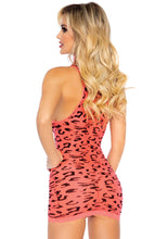 Load image into Gallery viewer, Coral Laura High Neck Neon Sheer Cheetah Racer Back Mini Dress