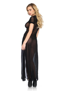 Black Leora Sheer Mesh High Slit Long Dress