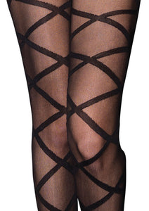 Black Emmy Criss Cross Sheer Bodystocking