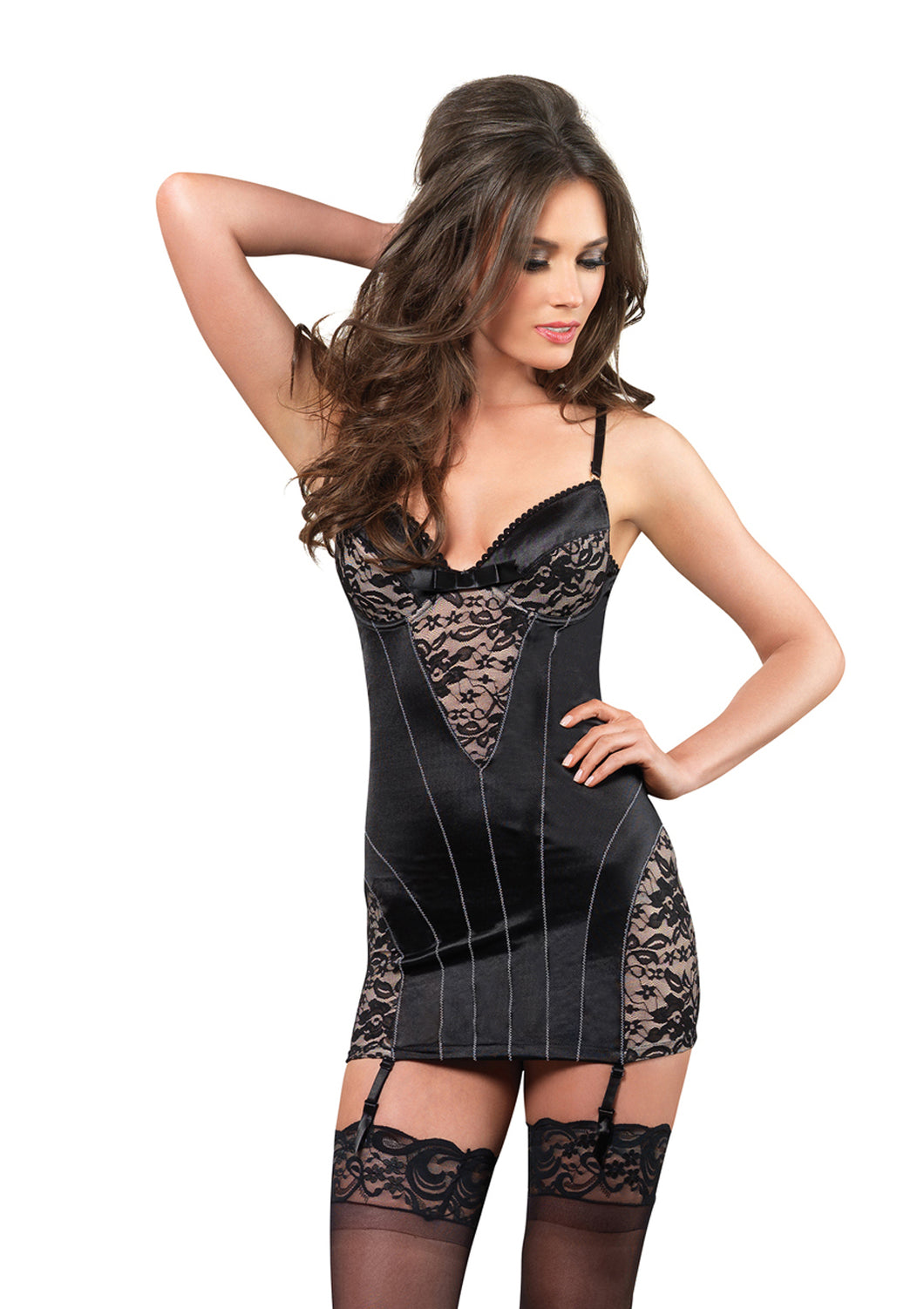 Black Amelia Stretch Satin Underwire Garter Dress