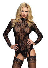 Load image into Gallery viewer, Black Jessie 2 Piece Long Sleeved Floral Lace Garter Top
