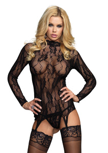 Black Jessie 2 Piece Long Sleeved Floral Lace Garter Top