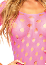Load image into Gallery viewer, Neon Pink Ella Seamless Pothole Mini Dress with 3/4 Sleeve