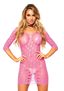 Neon Pink Ella Seamless Pothole Mini Dress with 3/4 Sleeve
