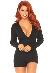Black Olivia Brushed Rib Romper Long Johns with Cheeky Snap Closure Back Flap