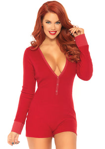 Red Olivia Brushed Rib Romper Long Johns with Cheeky Snap Closure Back Flap