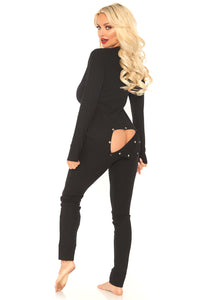 Black Bethany Cozy Brushed Rib Long Johns with Cheeky Snap Closure Back Flap