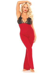 Red Elizabeth Brushed Rib Onesie with Embroidered Lace Applique Bodice